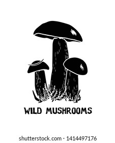 Vector illustration of hand drawn wild mushroom. Ink drawing, graphic style. Beautiful food design elements, linocut style