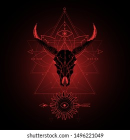 Vector illustration with hand drawn wild buffalo skull and Sacred geometric symbol on black background. Abstract mystic sign. Red linear shape. For you design, tattoo or magic craft.