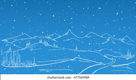 Vector illustration: Hand drawn Winter Mountains sketch landscape with road, pine and snowflake. Line design