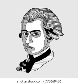 Vector illustration hand drawn. Wolfgang Amadeus Mozart
