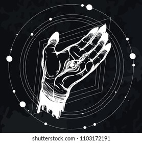 Vector illustration. Hand with eye, mysticism. Handmade, tattoos, prints on T-shirts. background chalkboard