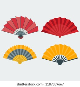 Vector illustration of a hand fan. Icons of fans for web design, printing and other.