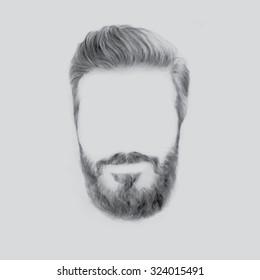 Vector illustration, hand graphics - Men's Beard and Hair