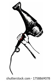 Vector illustration of hand with hair dryer. Hand-drawn sketch.