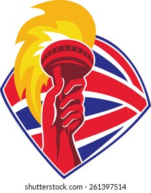 vector illustration of a hand hold flaming torch set inside shield with great britain british flag in background done in retro style.