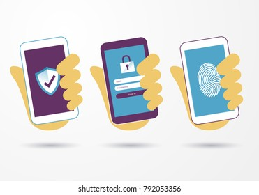 vector illustration hand hold smart mobile phone with security protection business information data with shield and lock symbol. Protected networks and antivirus services, secure access, hacking etc.