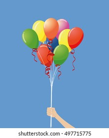 vector illustration of hand holding colorful balloons on blue background