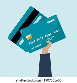 Vector illustration of a hand holding a credit card