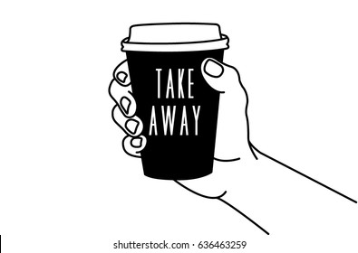 Vector illustration of a hand holding a cup of coffee to takeaway