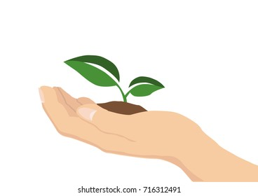 A vector illustration of a hand holding a green seedling. Love farming and nature.