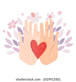 Vector illustration of hand holding heart.
