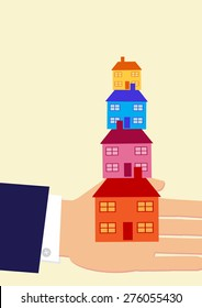 A vector illustration of a hand holding houses that are stacked on top of each other. A metaphor on multiple property ownership and buy to let.