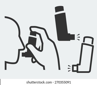 Vector illustration of a hand holding inhaler at head and isolated inhaler