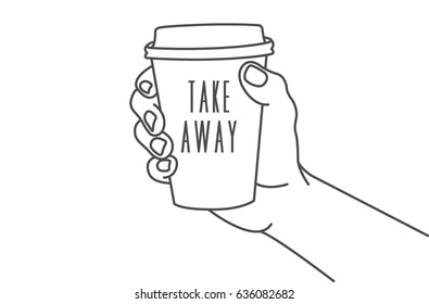Vector illustration of a hand holding a mug of coffee to takeaway