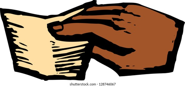 Vector illustration of a hand holding a note