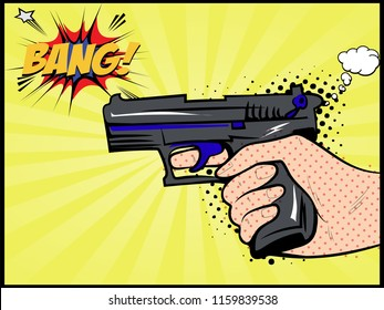 Vector Illustration - Hand holding a pistol gun and comic explosion bang sign. Lettering bang text, comic book letters