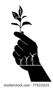 Vector illustration of a hand holding a plant shrub with silhouette of modern windmills on the palm for the concept: Harvesting sustainable energy plant.
