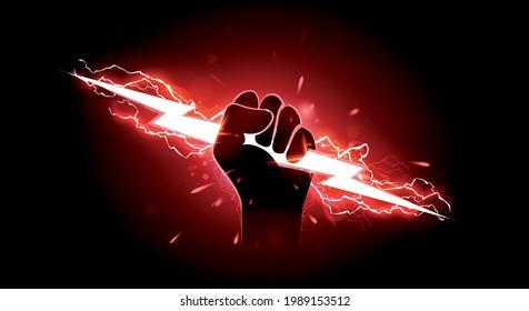 Vector Illustration Hand Holding Red Lightning