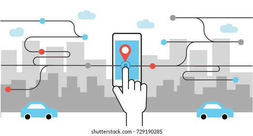 Vector Illustration Hand Holding Smart phone with Ride share App