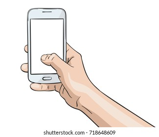 Vector illustration of hand holding white smartphone and thumb pressing blank screen, Illustration in sketch style isolated on white background