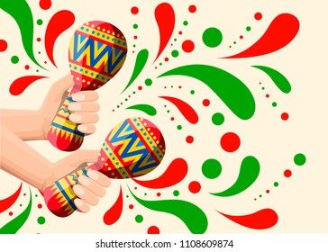 Vector illustration of hand holds colorful maracas. Pair maracas flat icon. Mexican maraca cartoon style. Vector illustration on beige background. Web site page and mobile app design.