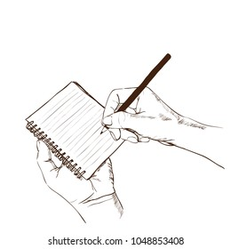 Vector illustration.One hand holds a note. On the other hand, holding a pencil is taking notes.On isolated white bacground.Education concept.