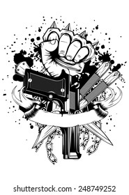 Vector illustration hand with knuckledusters pistols knifes