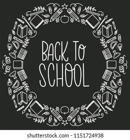 Vector illustration of hand lettered back to school greeting and objects