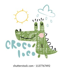 vector illustration with hand lettering croco loc text, loco is translated from Spanish as crazy