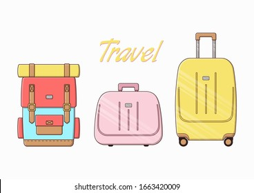 Vector illustration of hand luggage. Set of cute travel bags. A plastic suitcase and a large backpack.