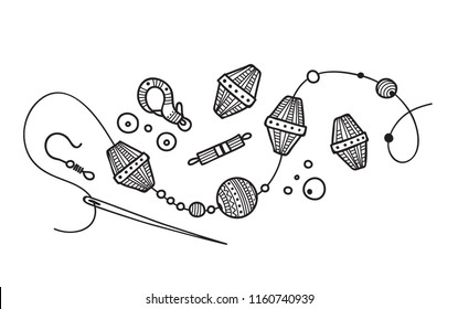 Vector illustration of hand made Jewelry process. Can be used as a sticker, icon, logo, design template, coloring page