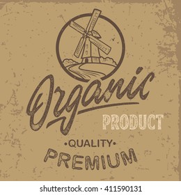Vector illustration hand made vintage farm logo with windmill. Retro print design, distressed stamp effect, hand lettering.