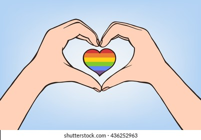 Vector illustration hand making heart sign. Female hands holding rainbow heart heart.  Gay flag. Gay family. lgbt community sign