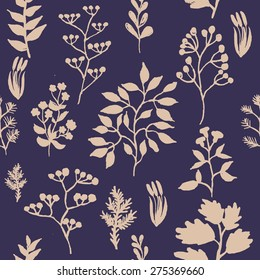 vector illustration of hand painted herbal seamless background
