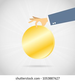 Vector illustration of hand picking a very large gold coin.