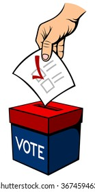 Vector illustration of a hand placing a vote into a red and blue ballot box.