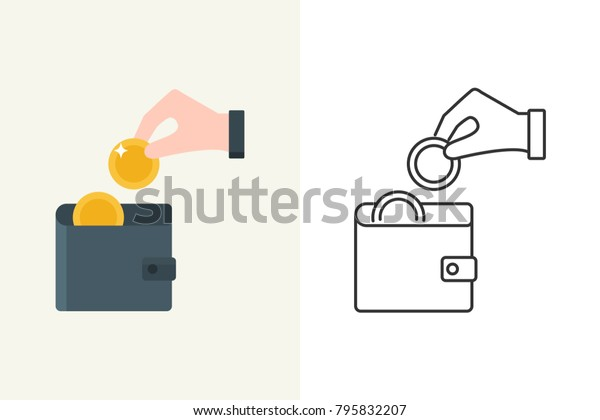Vector illustration of a hand putting a coin into the wallet flat and line style icon