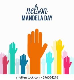 Vector illustration Hand for right for International Nelson Mandela Day.