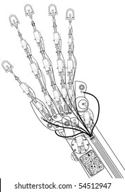 Vector illustration of an hand robot  technical drawing