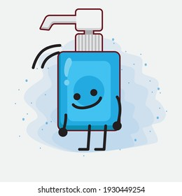 Vector Illustration of Hand Sanitizer Character with cute face, simple hands and leg line art on Isolated Background. Flat cartoon doodle style.