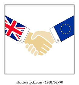 Vector illustration of hand shake between Britain and European Union. Cancel Brexit concept. United Kingdom is thus on course to leave the EU on 29 March 2019.