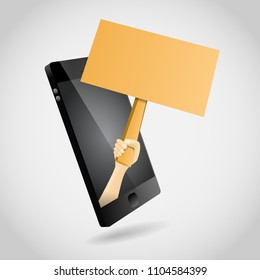 Vector illustration of Hand Sign from Smartphone design element.