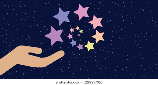 vector illustration of hand with spiral of pastel stars for cosmic energy and supernatural abilities