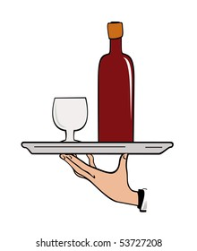 Vector illustration of the hand of waiter with tray over the white background