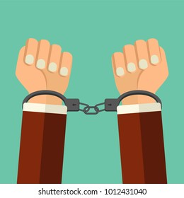 Vector illustration handcuffs on hands of  criminal man. Arrested man in handcuffs flat style illustration. A crime, arrest, business and corruption concept.