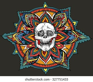 Vector illustration, hand-drawing. Colorful pattern with skull. On a dark background.