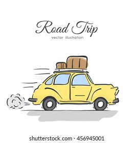 Vector illustration: Hand-drawing isolated yellow retro car with luggage on the roof on white background.