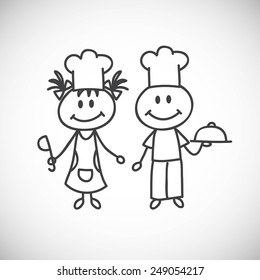 Vector illustration of hand-drawn boy and girl. Occupation cook.