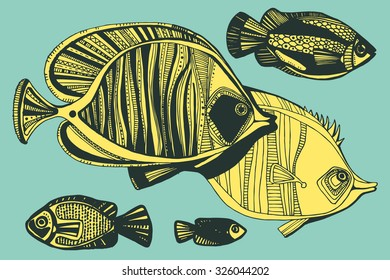 Vector illustration with hand-drawn fishes