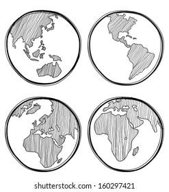 Vector illustration of  hand-drawn global